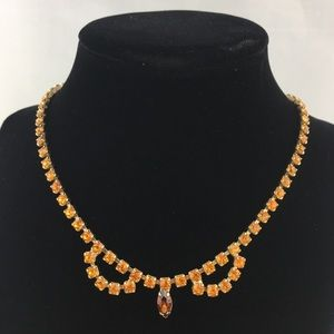 "Vintage Jewelry - Vintage 16"" Amber Rhinestone Necklace"